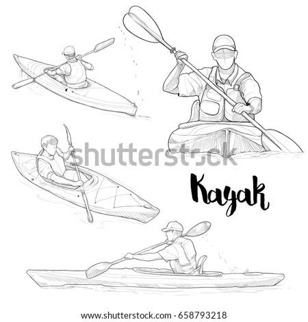 Hand Drawn Illustration Set Of Kayaking