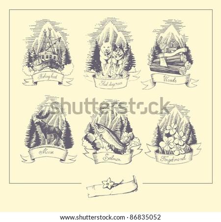 Hand drawn illustration set: woods, forget-me-not, majestic moose, salmon, fishing, sledding. - stock vector
