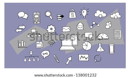 Hand drawn illustration various technology and business icons - stock vector