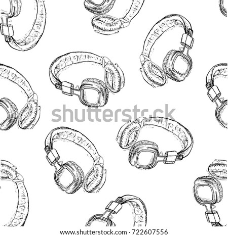 Hand drawn illustration with headphones isolated on white. Vector seamless pattern. Sketch style