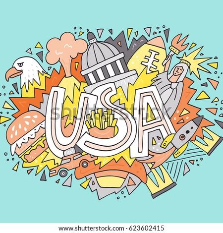 Hand Drawn Illustration Symbols United States Stock Vector 623602415