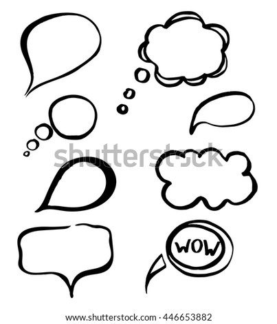 Hand drawn illustrations for use as individual designs or as a background. Dialog bubbles vector set. Sketch banners.