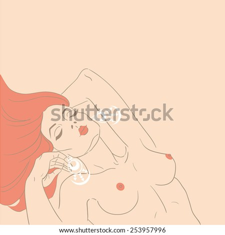 hand-drawn image of a beautiful naked woman with earrings - stock vector