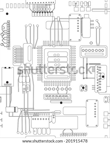 Hand Drawn Vector Abstract Schematic Circuit Stock Vector 201915478 ...