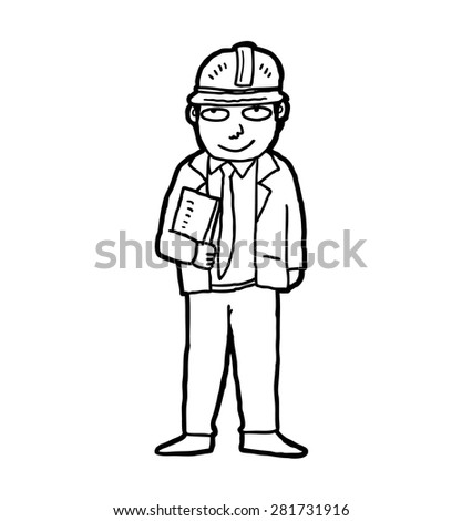 hand drawn industrial worker wearing safety helmet  - stock vector