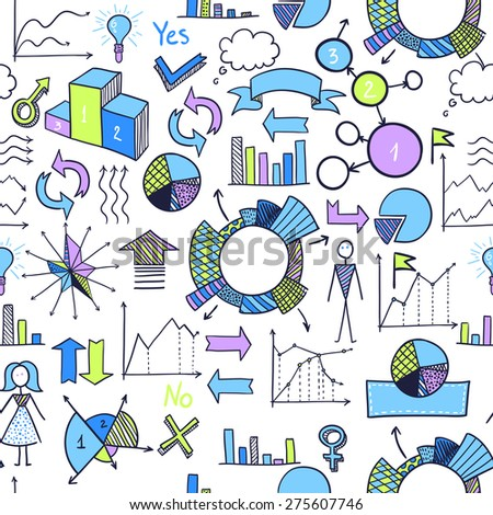 Hand-drawn infographic element pattern. Business seamless background