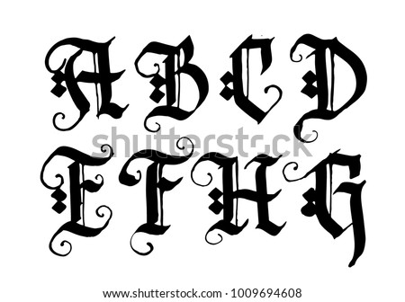 Hand Drawn Ink Gothic Style Lettering Alphabet Typographic Decorative Font Letters AB