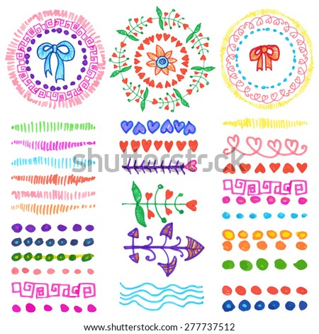 Hand drawn ink highlighter marks brushes,wreath, heart ,floral decor set.Colored Doodle decor.Design template,wedding, invitations, holiday, Valentine day,baby design. Vector crayon - stock vector