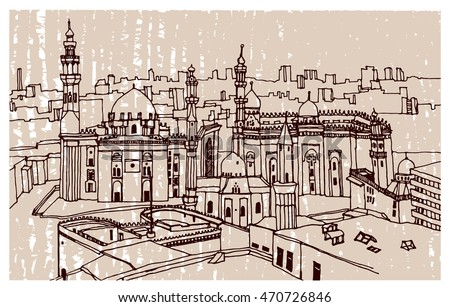 Hand drawn ink line sketch African town Cairo, Egypt with buildings, mosque,  in outline style. Ink drawing of cityscape.The Mosque and Madrasa of Sultan Hassan. Street perspective view.