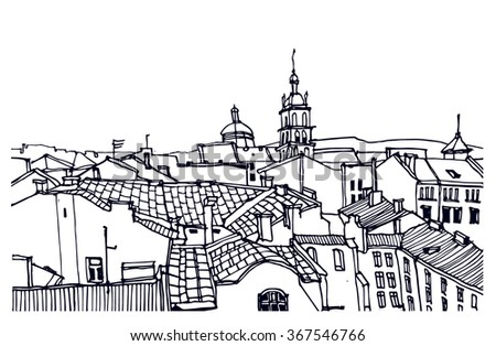 Hand drawn ink line sketch European town, historical architecture like Lvov. European old town with buildings, roofs in outline style. Ink drawing of cityscape. Bird's eye view. Panorama perspective - stock vector