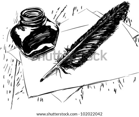 Hand drawn ink quill and bottle illustration - stock vector