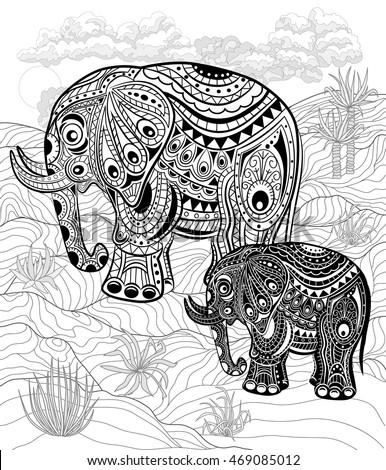 Hand Drawn Ink Zentangle Elephants For Relax And Meditation Vector Black White Illustration Can