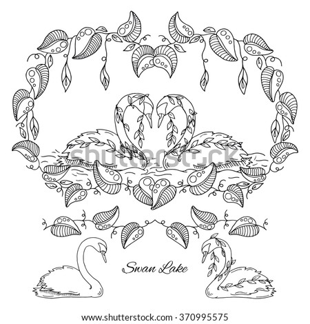 Hand drawn inky sketch swan lake vector adult coloring book of nature elements calla