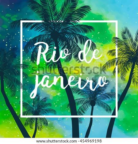 Hand Drawn Inscription Rio De Janeiro Stock Vector - Vacation in brazil