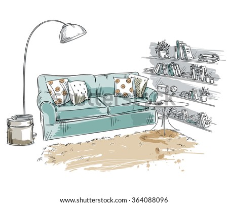 Hand drawn interior element. Comfortable sofa, lamp and bookshelf - stock vector