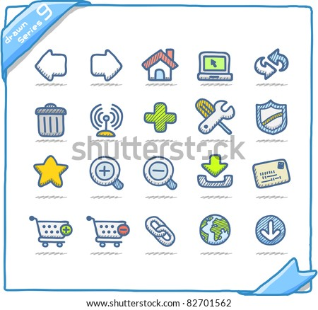 Hand drawn internet and web icons