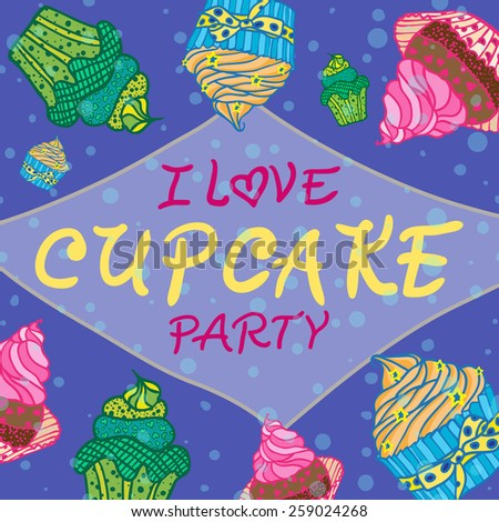 Hand drawn invitation card cupcakes best stock vector 259024268 hand drawn invitation for card with cupcakes best for party cafe or restaurant vector stopboris Images