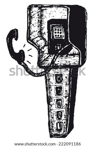 Hand drawn isolated phone box/ Illustration of hand drawn isolated phone box
