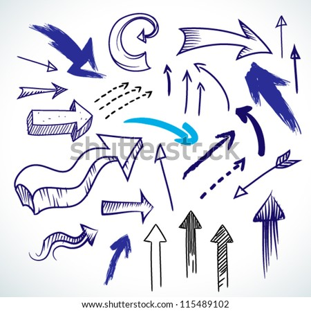 Hand-drawn isolated sketchy arrows colored - vector illustration for advertising and business presentations. - stock vector