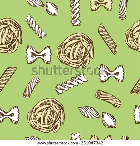 Hand drawn Italian pasta seamless pattern. Green background - stock vector
