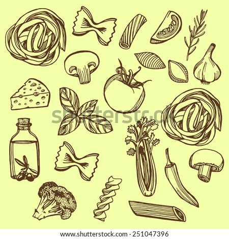 Hand drawn Italian pasta set. Pasta, cheese, broccoli, garlic, chili pepper, rosemary, celery, olive oil, basil, champignon, tomato - stock vector