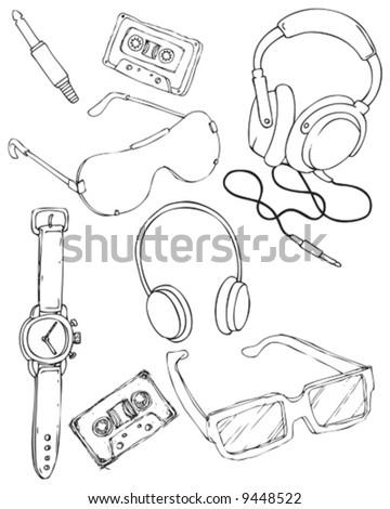 hand drawn items - stock vector