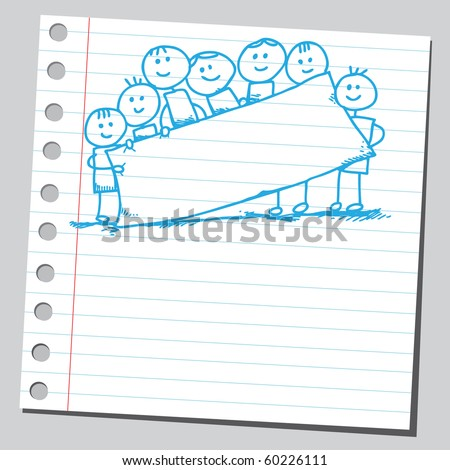 Hand drawn kids holding empty banner - stock vector
