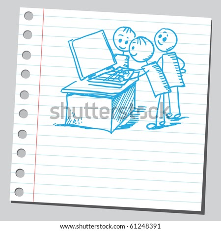 Hand drawn kids playing game on a computer - stock vector