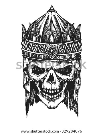 Hand drawn king skull in crown. Vector illustration