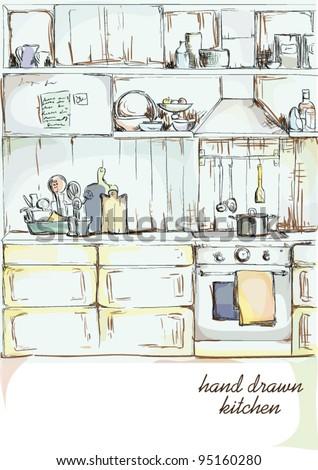 Hand drawn kitchen - stock vector