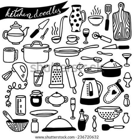 hand-drawn kitchen doodles - stock vector