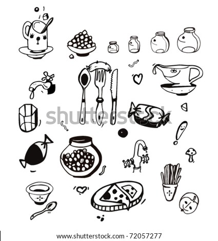 Hand Drawn  Kitchen Items and Miscellaneous