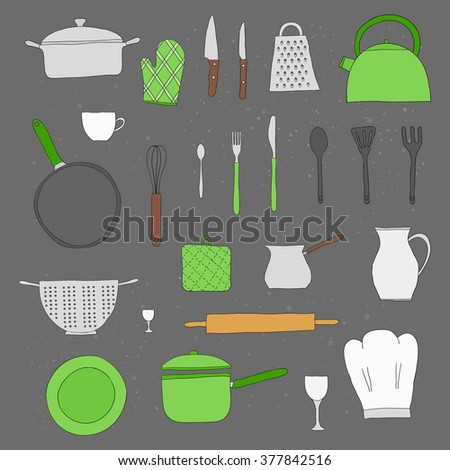 Hand drawn kitchen items isolated on the blackboard. Teapot, chef hat, spoon, spatula, knife, bowl, grater, saucepan, plate, colander, potholder. - stock vector