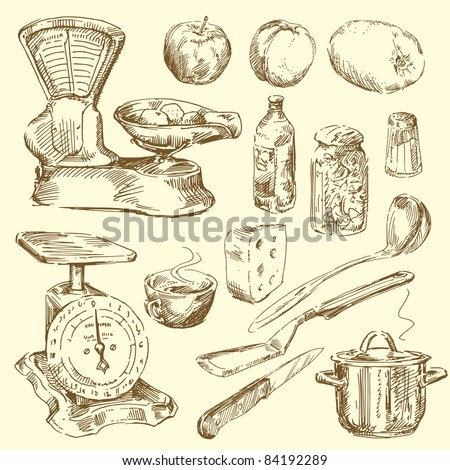 hand drawn kitchen set - stock vector