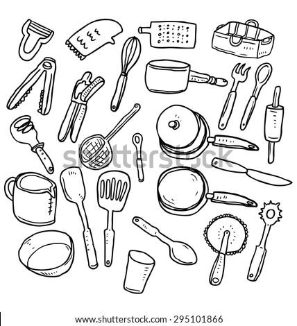 hand drawn kitchen utensil - stock vector