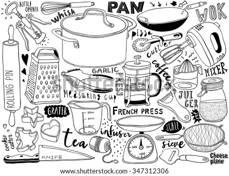 hand-drawn kitchen utensils doodles - stock vector