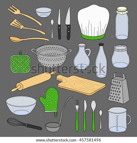 Hand drawn kitchen utensils isolated on chalkboard background. - stock vector