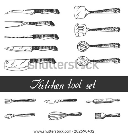 Hand drawn Kitchen Utensils Set. Sketch. excellent vector illustration, EPS 10