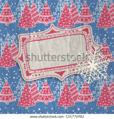 Hand-drawn label and paper snowflake  on patterned background with falling snow and stylized fir trees decorated with snowflakes, baubles and garlands, Christmas background - stock vector