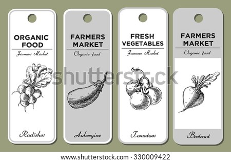 Hand drawn label set with vegetables. Radish, aubergine, tomatoes, beetroot.  For vegan products, brochures, banner, restaurant menu, farmers market and organic food store - stock vector