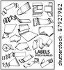 Hand drawn labels and speech bubbles. Vector set of design elements - stock vector