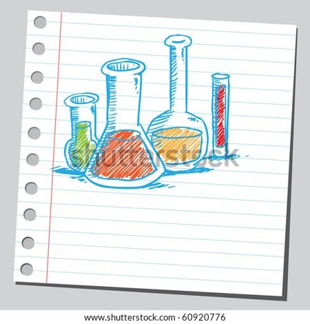 Hand drawn laboratory glassware - stock vector