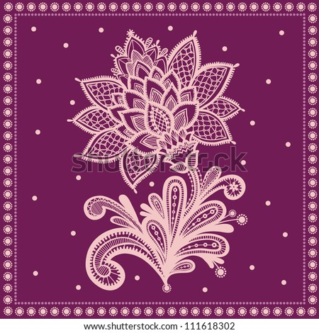 Hand Drawn Lace Floral (vector). lace vector design.