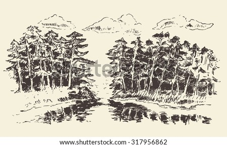 Hand drawn landscape with lake and fir forest, vintage vector illustration - stock vector