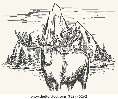 Hand drawn landscape with lake, mountains and trees and moose. Vector illustration - stock vector