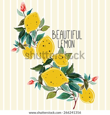 Hand drawn lemons on a branch background . Watercolor and cut-out illustration of yellow lemons on the branch of a lemon tree with lovely flowers. Vector art for greeting cards, invitations. - stock vector