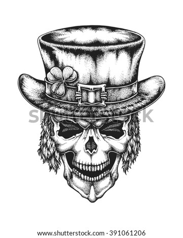 Hand drawn leprechaun skull wearing Irish hat with lucky three leaf clover. Saint Patricks Day. Vector illustration