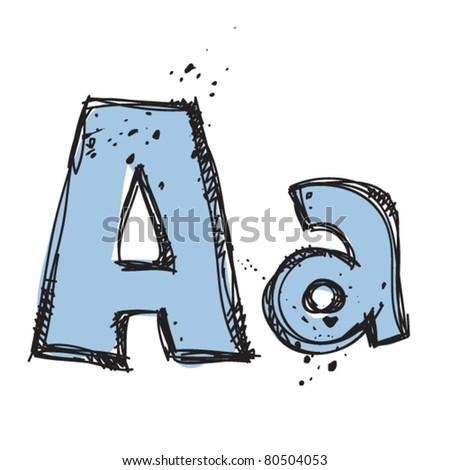 Hand drawn letter A. Vector illustration - stock vector
