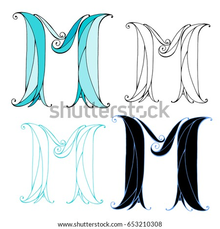 Hand Drawn Letter M Color And Graphic Variations Vector For Logo