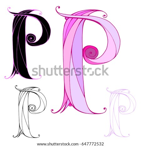 Hand Drawn Letter P Color And Graphic Variations Vector For Logo